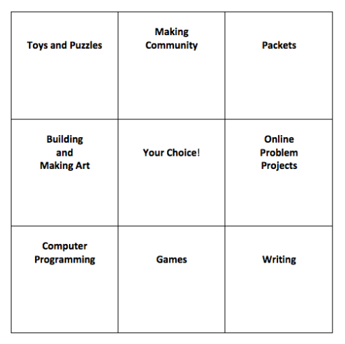 free-choice bingo board